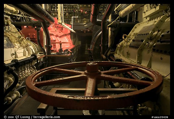 Engine room of the Queen Mary. Long Beach, Los Angeles, California, USA (color)