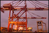 Cranes, Port of Los Angeles, sunset. Long Beach, Los Angeles, California, USA (color)