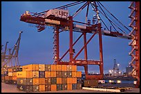 Countainers and cranes, Port of Los Angeles, dusk. Long Beach, Los Angeles, California, USA ( color)