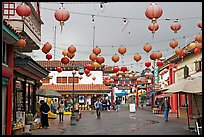 Lanterns and pedestrian street in rainy weather,  Chinatown. Los Angeles, California, USA