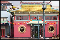 Building in Chinese style, Chinatown. Los Angeles, California, USA (color)