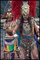 Aztec dancers performing, El Pueblo historic district. Los Angeles, California, USA ( color)