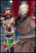 Aztec dancers with motion blur. Los Angeles, California, USA (color)