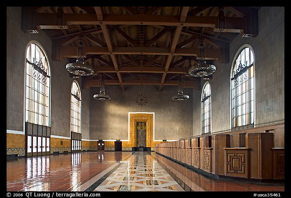 Hall in Union Station. Los Angeles, California, USA (color)