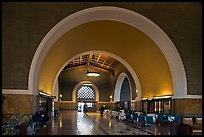 Entrance hall in Union Station. Los Angeles, California, USA (color)