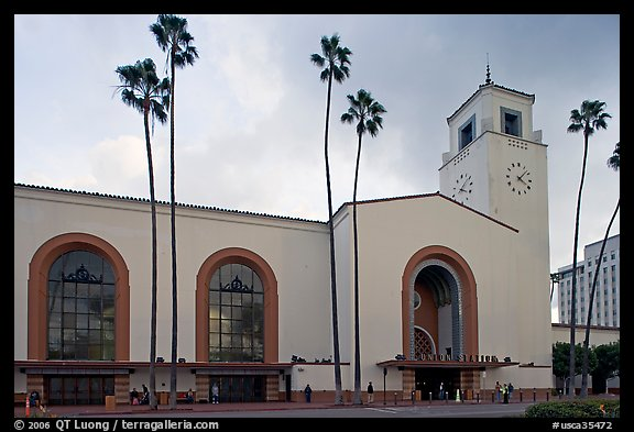 Union Station in mixed Art Deco and Mission styles. Los Angeles, California, USA (color)