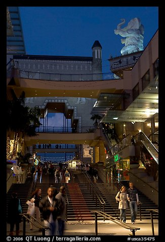 Hollywood and Highland shopping complex and dusk. Hollywood, Los Angeles, California, USA (color)