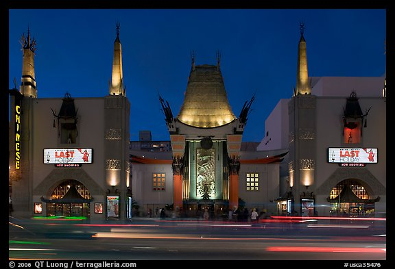 Grauman Chinese Theatre at dusk. Hollywood, Los Angeles, California, USA