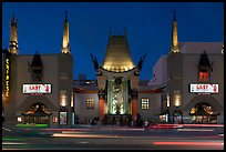Grauman Chinese Theatre at dusk. Hollywood, Los Angeles, California, USA (color)