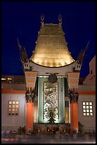 Main gate of Grauman Chinese Theatre at night. Hollywood, Los Angeles, California, USA