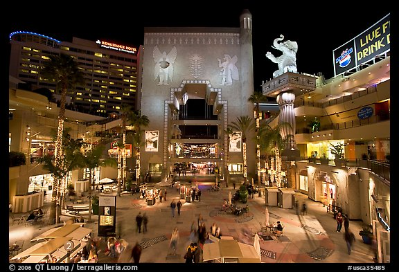Hollywood and Highland shopping complex at night. Hollywood, Los Angeles, California, USA (color)
