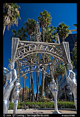 Gazebo with statues of Dorothy Dandridge, Dolores Del Rio, Mae West,  and Anna May Wong. Hollywood, Los Angeles, California, USA (color)