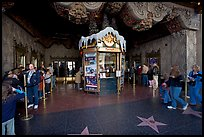 Walk of fame and entrance of El Capitan Theater. Hollywood, Los Angeles, California, USA (color)