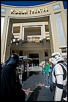 People dressed as Star Wars characters in front of the Kodak Theater, home of the Academy Awards. Hollywood, Los Angeles, California, USA (color)