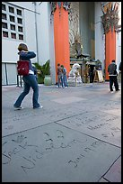 Footprints and handprints of Jack Nicholson in the Grauman theatre forecourt. Hollywood, Los Angeles, California, USA ( color)