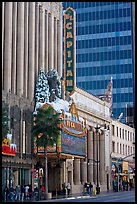Facade of the El Capitan theater in Spanish colonial style. Hollywood, Los Angeles, California, USA