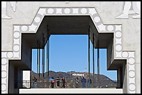 Arch in Hollywood and Highland framing the Hollywood sign. Hollywood, Los Angeles, California, USA (color)