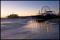 Pier and Ferris Wheel at sunset. Santa Monica, Los Angeles, California, USA (color)