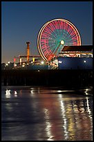 Ferris Wheel in motion at nightfall. Santa Monica, Los Angeles, California, USA ( color)