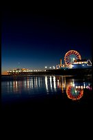 Ferris Wheel and pier at night. Santa Monica, Los Angeles, California, USA