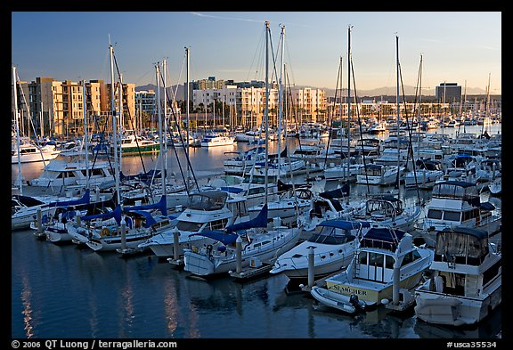 Marina at sunrise. Marina Del Rey, Los Angeles, California, USA (color)