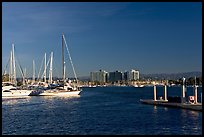 Yachts, marina, and hills, early morning. Marina Del Rey, Los Angeles, California, USA