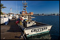 Fishing boat and deck. Marina Del Rey, Los Angeles, California, USA (color)