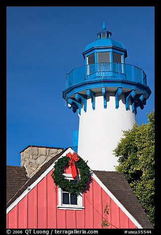 Lighthouse, Fishermans village. Marina Del Rey, Los Angeles, California, USA (color)
