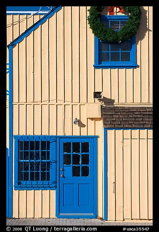 Wooden house with bright blue door. Marina Del Rey, Los Angeles, California, USA