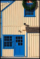 Wooden house with bright blue door. Marina Del Rey, Los Angeles, California, USA ( color)