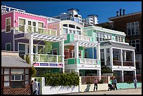Row of colorful beach houses. Santa Monica, Los Angeles, California, USA