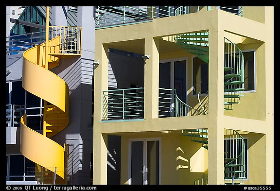 Facade Of Beach Houses With Spiral Staircase. Santa Monica, Los Angeles,  California, USA