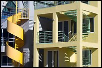 Facade of beach houses with spiral staircase. Santa Monica, Los Angeles, California, USA (color)