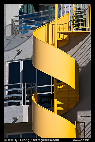 Detail of outdoor spiral staircase. Santa Monica, Los Angeles, California, USA (color)