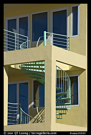 Spiral staircase and balconies on beach house. Santa Monica, Los Angeles, California, USA (color)