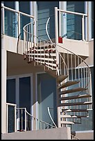 Facade detail of beach house with spiral stairway. Santa Monica, Los Angeles, California, USA ( color)