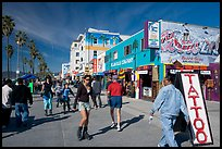Rollerblading on colorful Ocean Front Walk. Venice, Los Angeles, California, USA (color)