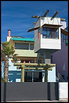 Beach house with lookout tower. Venice, Los Angeles, California, USA (color)
