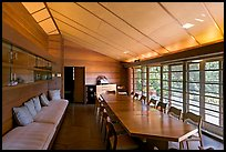 Dining room, Hanna House, a Frank Lloyd Wright masterpiece. Stanford University, California, USA (color)