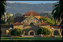 Memorial Church, main Quad, and foothills. Stanford University, California, USA