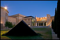 Pyramid in courtylard of the Cantor Art Museum at night. Stanford University, California, USA