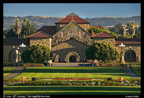 Lawn, main Quad, and Memorial Chapel. Stanford University, California, USA (color)
