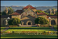 Lawn, main Quad, and Memorial Chapel. Stanford University, California, USA ( color)
