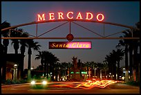 Entrance of the Mercado Shopping Mall at night. Santa Clara,  California, USA (color)