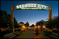 Broadway Street with Best Climate neon sign at dusk. Redwood City,  California, USA (color)