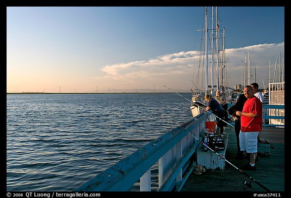 Fishing in the Port of Redwood, late afternoon. Redwood City,  California, USA (color)