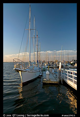 Yacht in Port of Redwood, late afternoon. Redwood City,  California, USA (color)