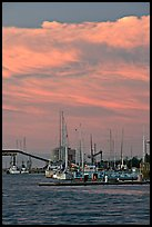 Port of Redwood and clouds at sunset. Redwood City,  California, USA ( color)