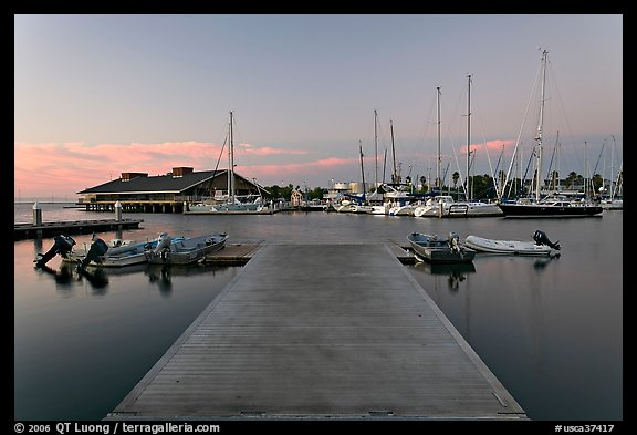 Deck and marina, sunset. Redwood City,  California, USA