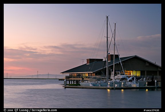 Marina building and yachts, sunset. Redwood City,  California, USA (color)